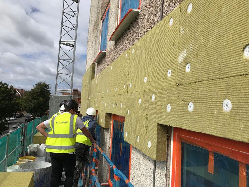 Southcliffe Tower renovation - Baumit wall insulation applied externally